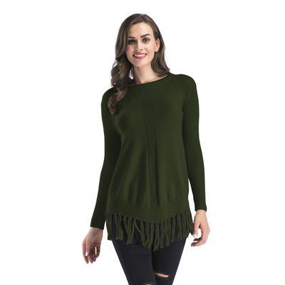 Tapas de las borlas de las mujeres de invierno ronda cuello espesan punto  suelto tipo suéter 53a010a8b29b