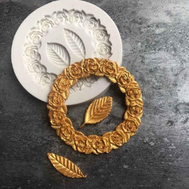 Silicone Wreath Leaves Frame Fondant Mold Cake Decor Chocolate Baking Mould BA