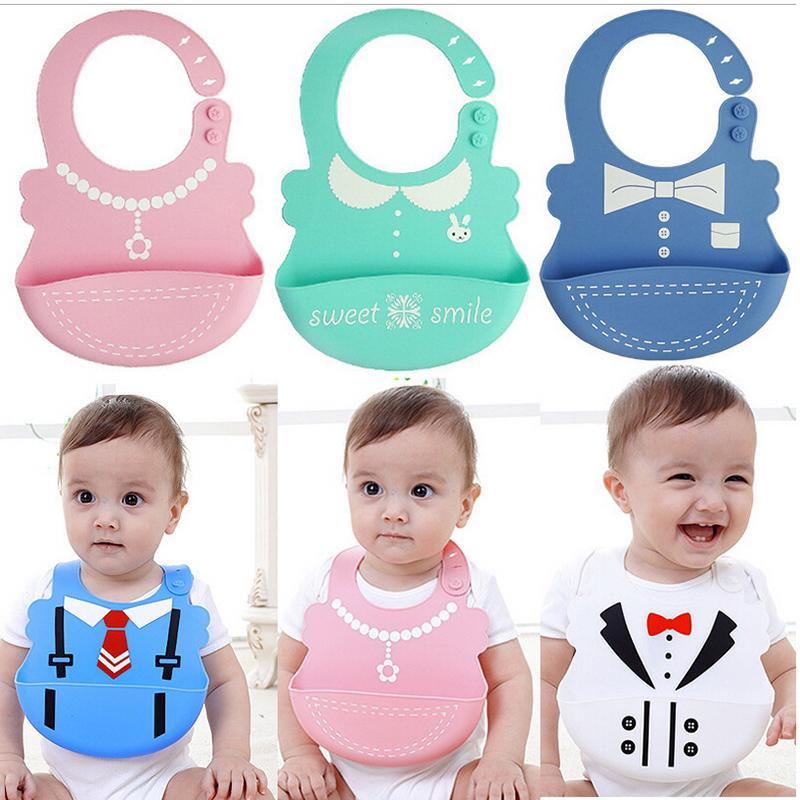 AO82 Infants Baby Kids Silicone Bib Adjustable three-dimensional Bib Waterproof