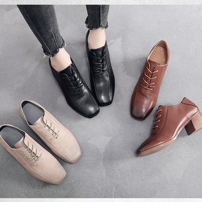 Women's Perforated Lace up Wingtip Leather Flat Oxfords