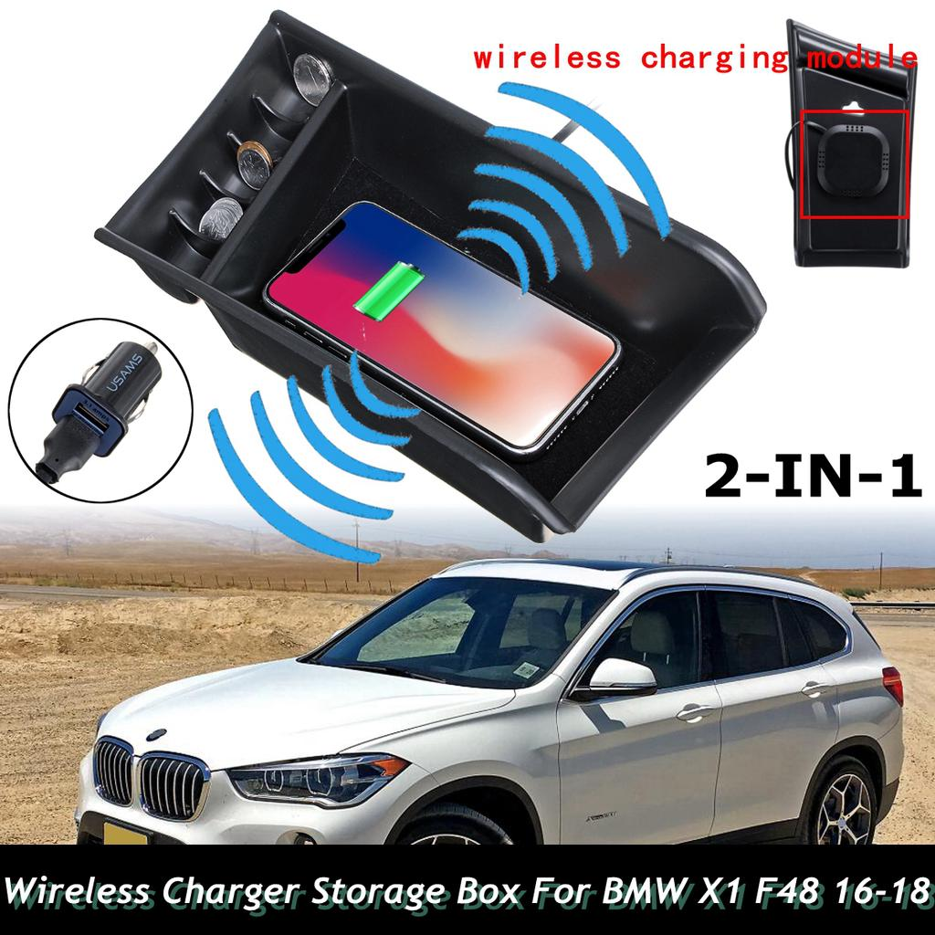 Phone QI Wireless Charging Central Armrest Storage Box For BMW X1 F48 16 18 2017