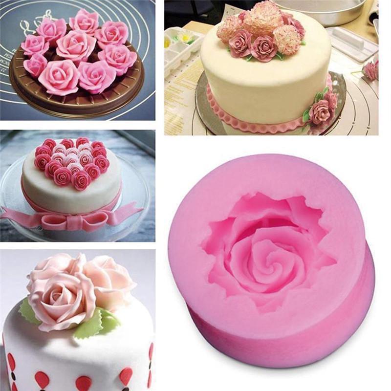 3D троянди шоколад форми Педанний торт прикраси інструменти силіконові мило цвіль силіконовий торт форми