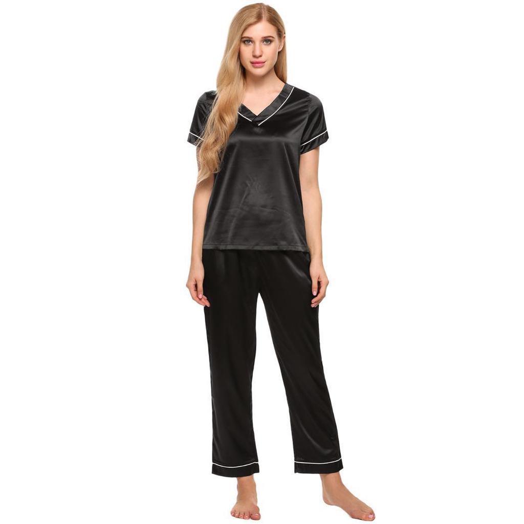 1b1e7a3c31 Las mujeres pijamas de Satén ajustado con cuello en v manga corta ...