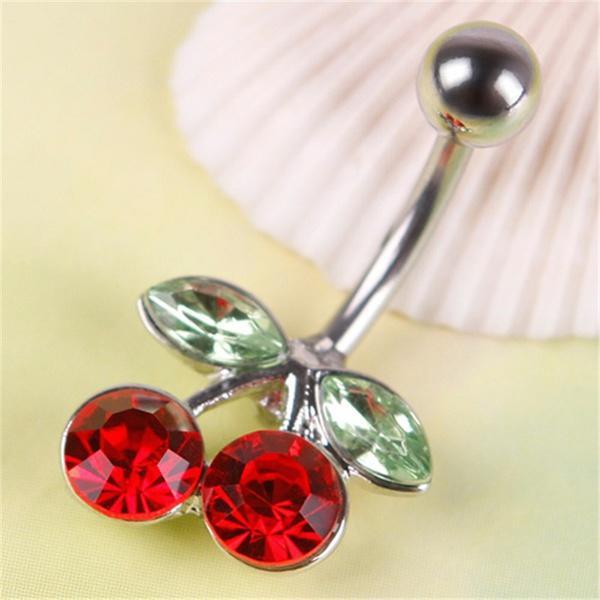 Cute Double Leaf Cherry Navel Belly Barbell Ring Rhinestone Crystal Women