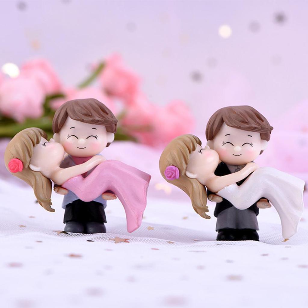 2pcs Wedding Decoration Brides Groom Figures Terrarium Figurines DIY Gnomes Fairy Garden Miniatures Bonsai Tools Resin Craft Micro Landscape