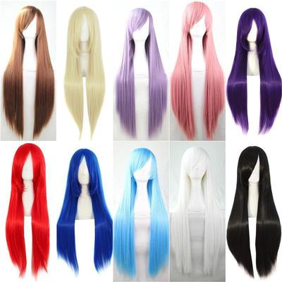 2BEAR Pink and Blue Middle Length Culry Ponytails Cosplay Wig for Women Christmas Party Costume