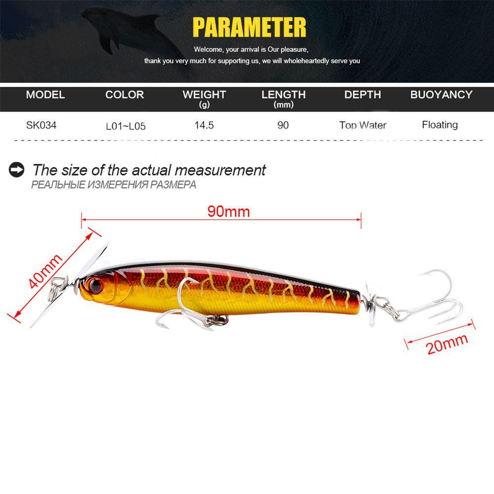 Propeller Portable Plastic Hard Crank VMC Hooks Bionic Bait Pencil Fishing Lure