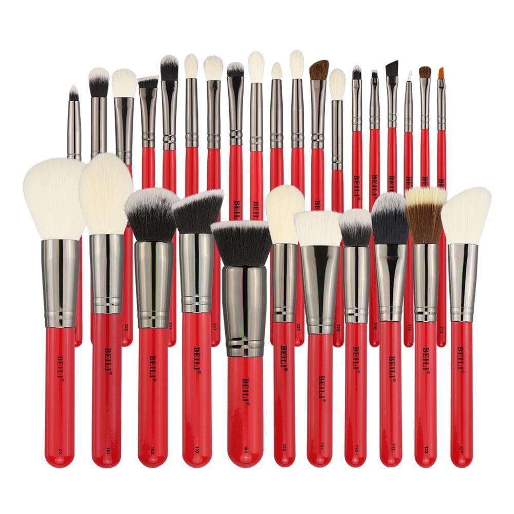 Beili 30pcs Red Professional Makeup Brush Set Natural Bristles