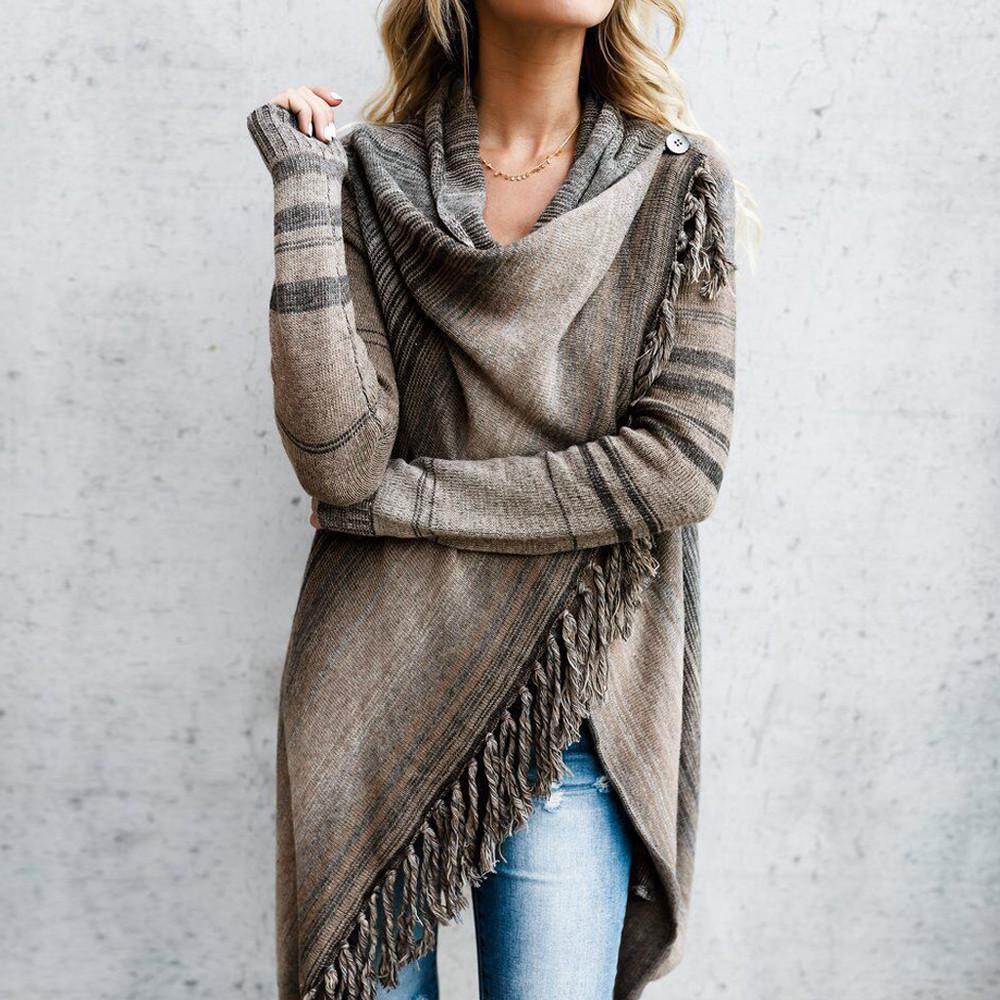 Women/'s Long Sleeve Cardigan Knitted Sweater Poncho Shawl Coat Jacket Outwear