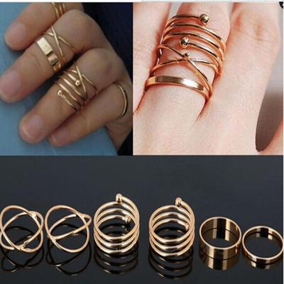 Punk Band Mid Knuckle Rings Set Stack Above 6pcs Adjustable Ring