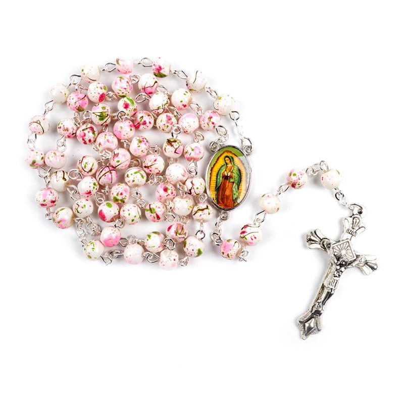Purple Long Rosary Glass Beads Cross In Silver Cross Necklace For Women Men Girl
