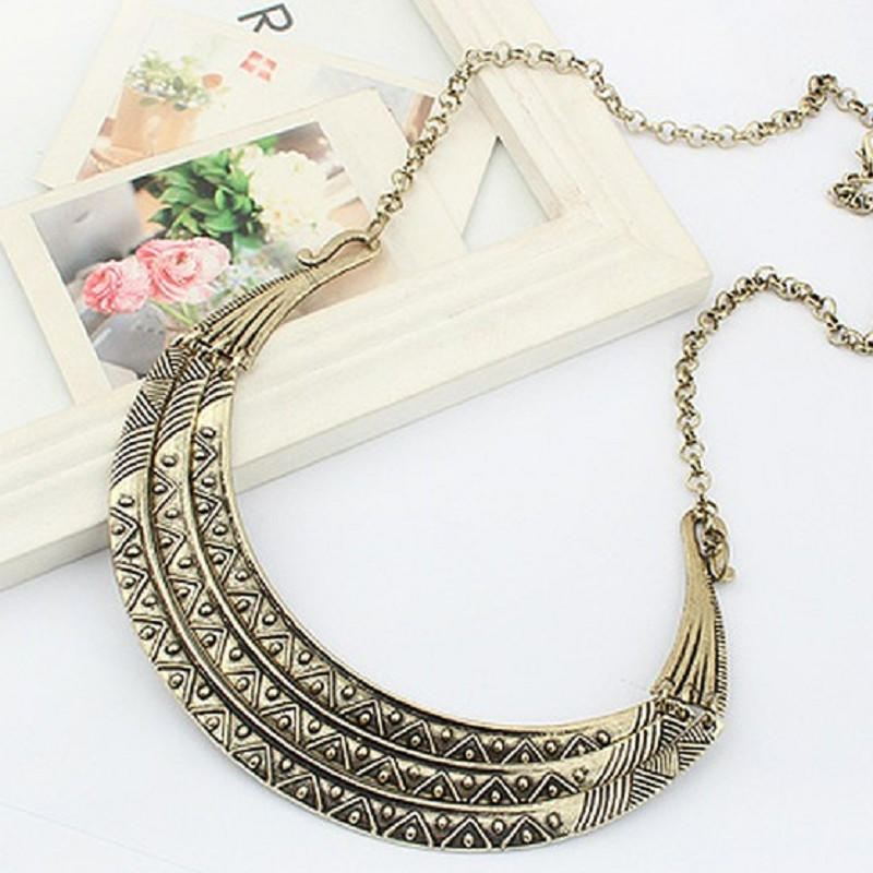 Gold Hot Pink Tribal Geometric Crescent Statement Fashion Jewellery Necklace