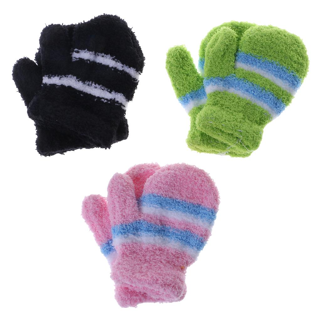 Baby Winter Warm Toddler Gloves Kid Thick Mitten with Rope Soft Hand Warmer Cute