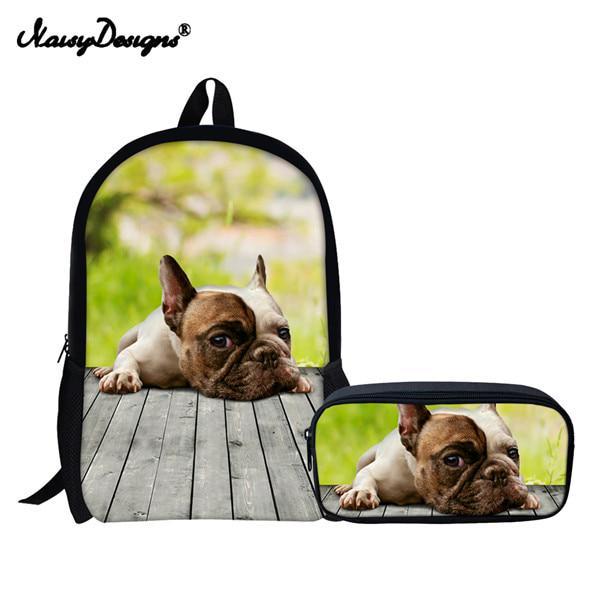 fc8048cdd 2 ajuste Preppy mochilas adolescente lindo grande chicas Pug perro ...