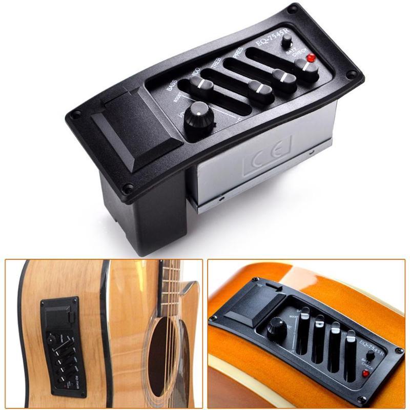 EQ-7545R 4 Bänder Eq Vorverstärker Piezo Pickup für Akustische Gitarre Zubehör