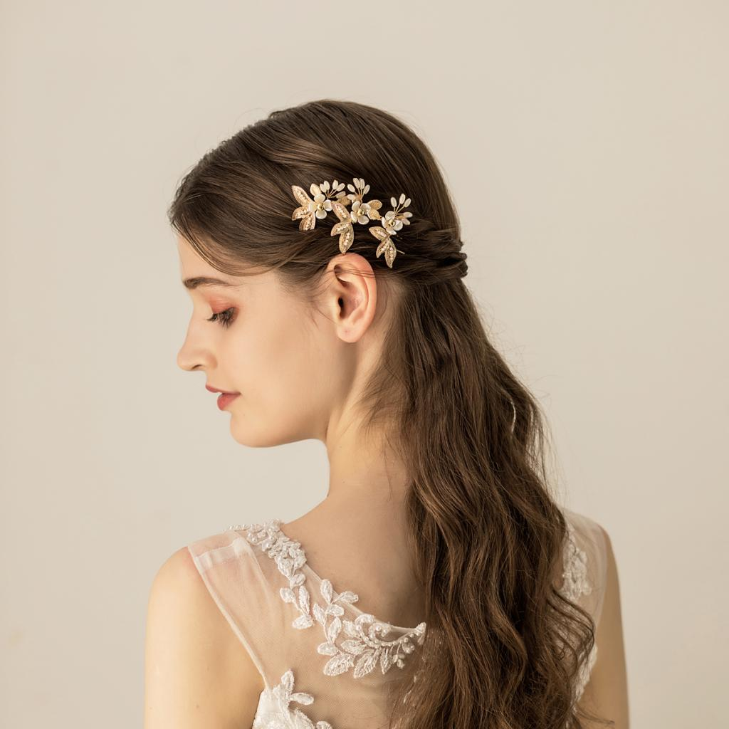 Bead Pearl Decoration Bridal Butterfly Wedding Headdress Hairpin Clip U-shaped