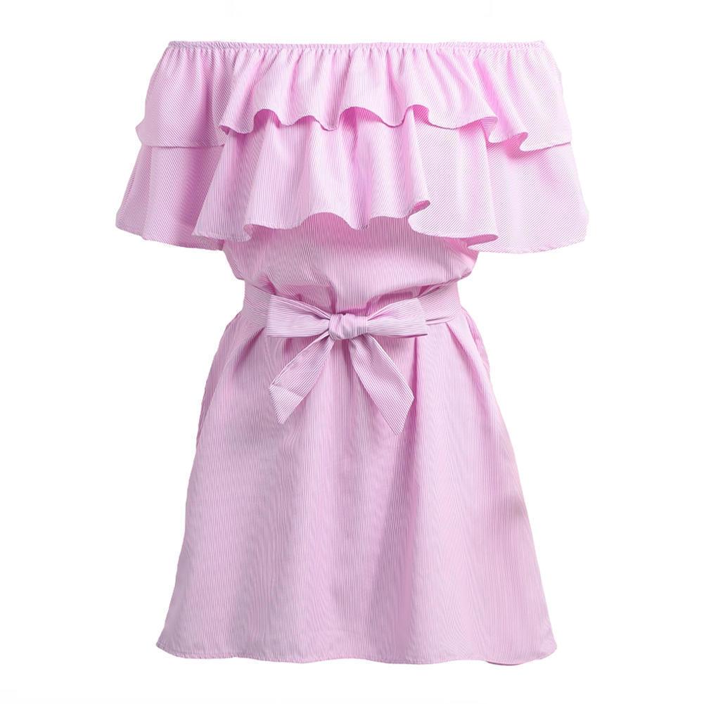 Las mujeres verano impresión vestidos hombro elástico barra cuello ...