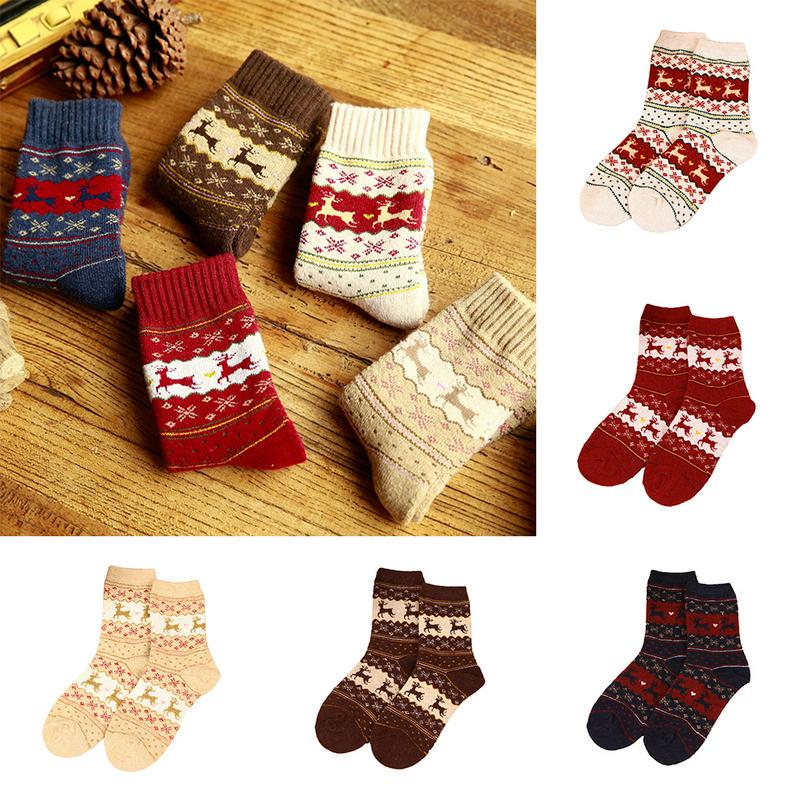 Wool Mid-Calf Woolen Christmas Women Warm Socks Winter Comfortable Sock SH