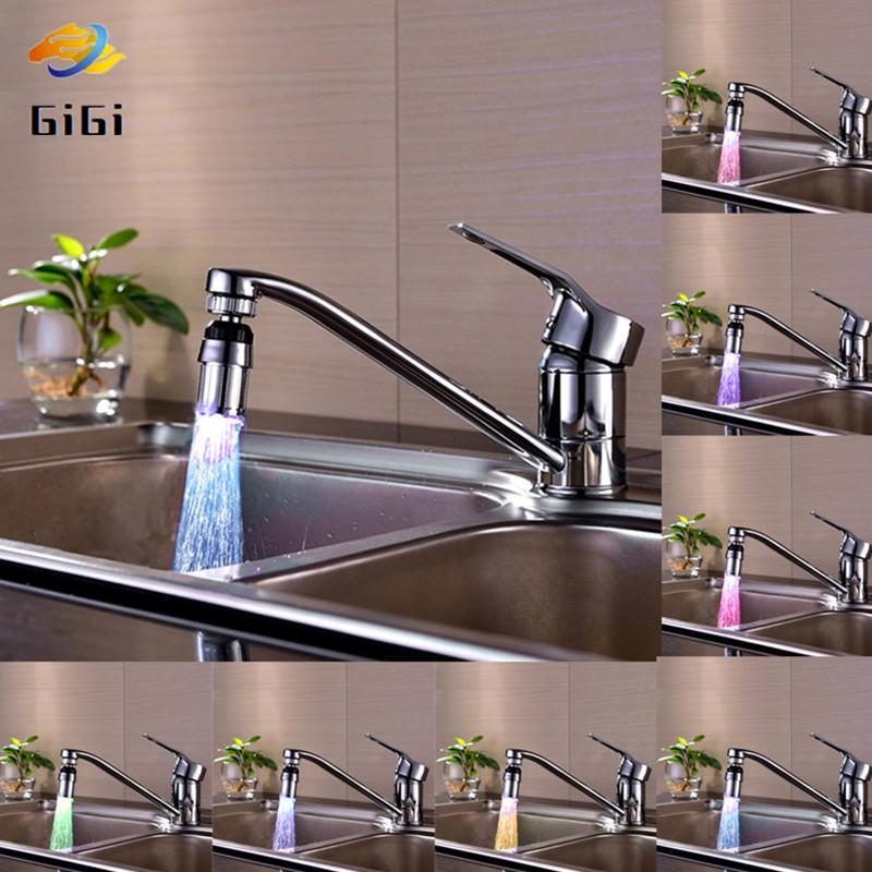 LED Farbewechsel Licht Wasserhahn Wasserstrahl Küche  Badezimmer mit 3 Farbe