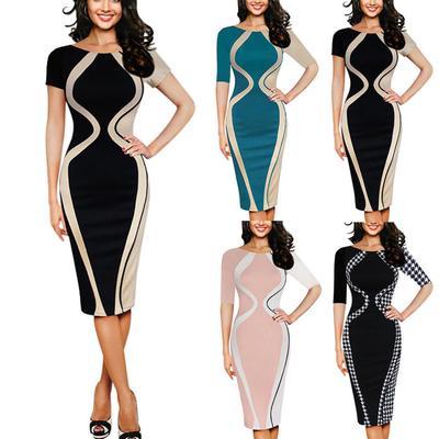7938a6b7704c851 Мода Короткие Сексуальные Bodycon партии карандаш бизнес стиль платье мини  рукав