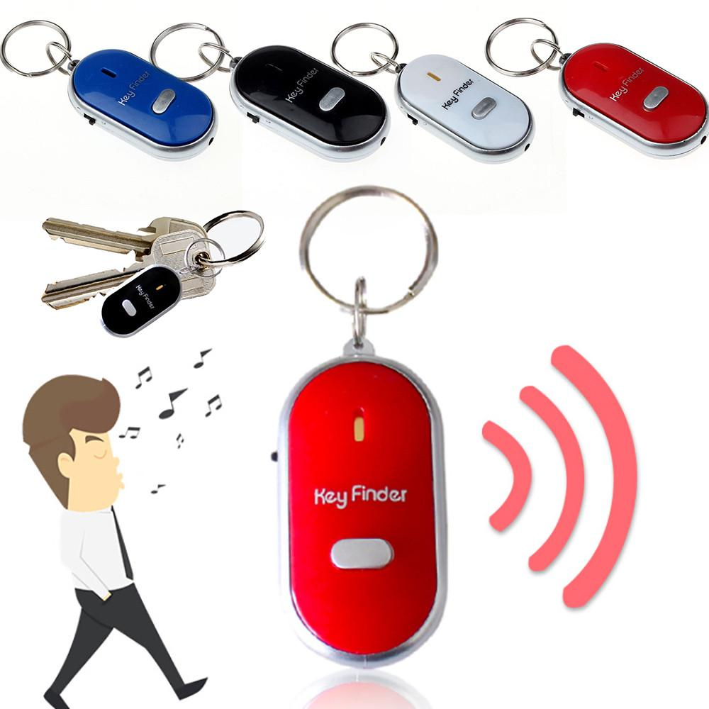 Outdoor Whistle Locator Sound Control Keychain Tracker LED Key Finder Anti-Lost