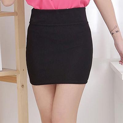a2792f56b Vestido de falda de las mujeres negro Stretch Mini falda básica común