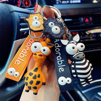 Cartoon Keychain Women Men Zebra Giraffe Keychain Funny Toy Car Accessories Gifts Novelty