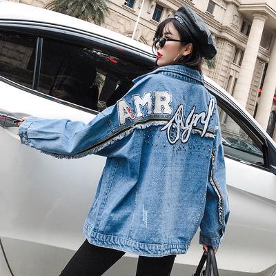 11e28259f2d Улица свободные джинсовые куртки вышитые заклепки ковбой Пальто женские  модельные повседневные топы