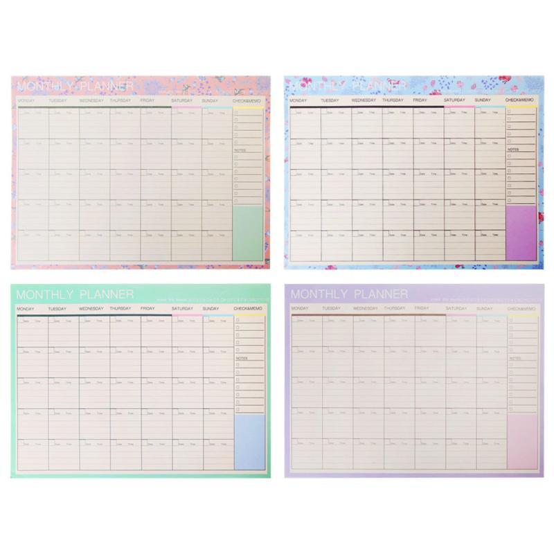 Monthly Paper Pad 20 Sheets Diy Planner Desk Agenda Gift School