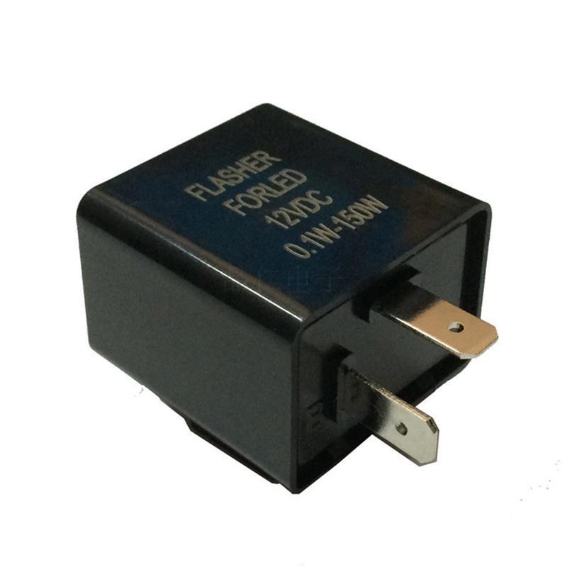 5Pcs LED Flasher Relay DC 12V 2 Pin Adjustable Electronic Flasher Relay for Motorcycle Car LED Turn Signal Light Bulb Hyper Flashing