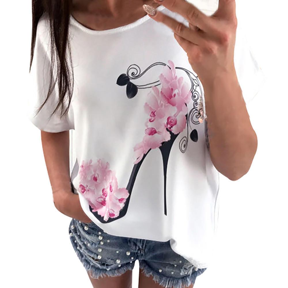 厂家批发夏爆款高跟鞋印花女装新款白色休闲宽松圆领T恤女短袖T恤