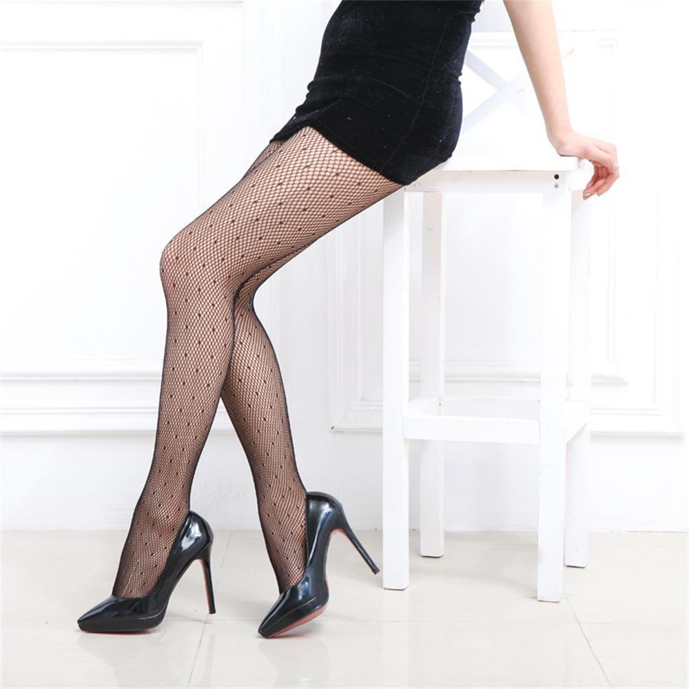 3825521ed Par de calcetines sexy medias de red de jacquard pantys malla pequeña  medias altas