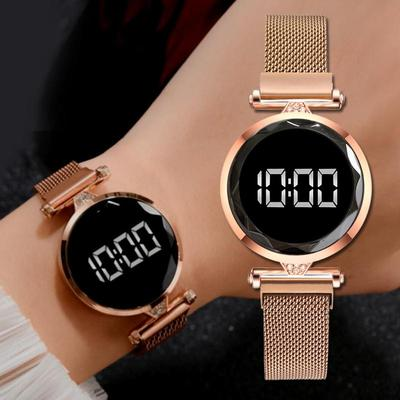 Luxury Digital Watch, Magnet Watches For Women, Rose Gold Stainless Steel Quartz Watch, Female Clock