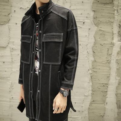 943f4bd7df7 Мужчины джинсовой куртки пальто длинная Секция мода пальто случайные  подходят пальто куртка верхняя одежда