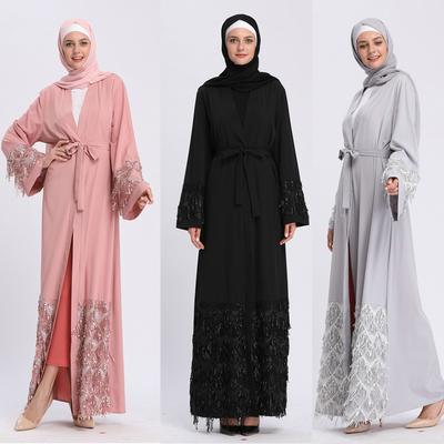 0d00a2903981c6b Женщины цветочные печатных долго платье Robe открытых Абая кардиган  мусульманских Дубай одеяние платье