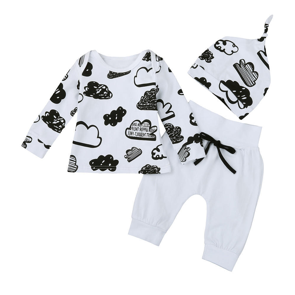 squarex Baby Girl Boy Cloud Print T Shirt Tops+Pants Outfits Clothes Pajamas Set