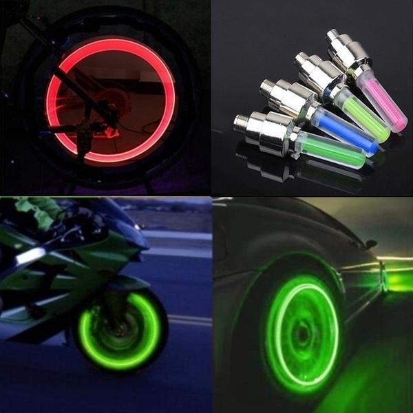 4pc Bike Car Motorbike Neon LED Tire Tyre Wheel Spoke Valve Flash Light Dust Cap