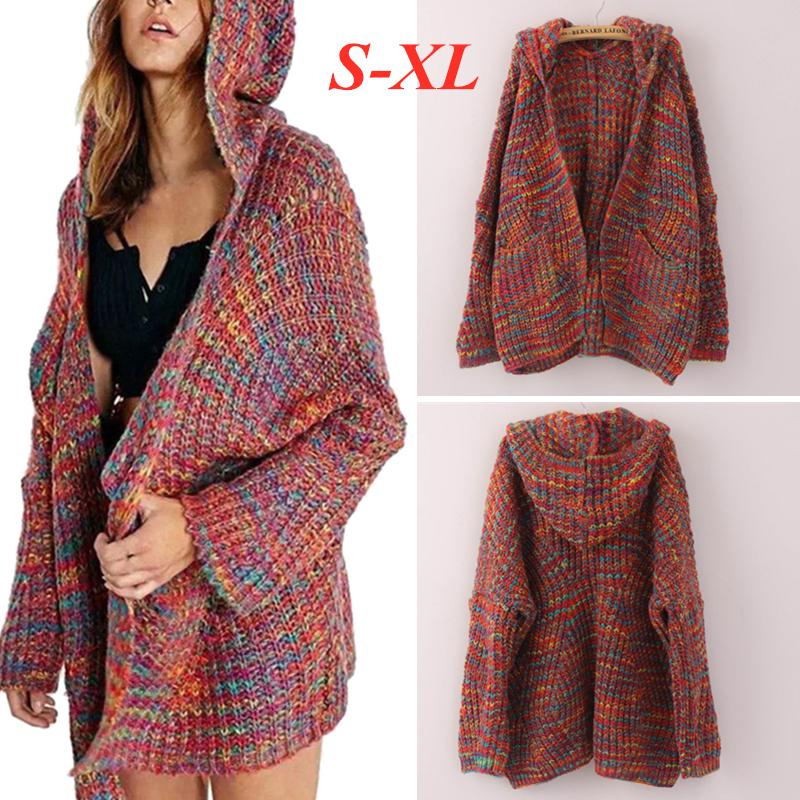 Women Winter Long Sleeve Hooded Knitted Colourful Cardigan Sweater Coat