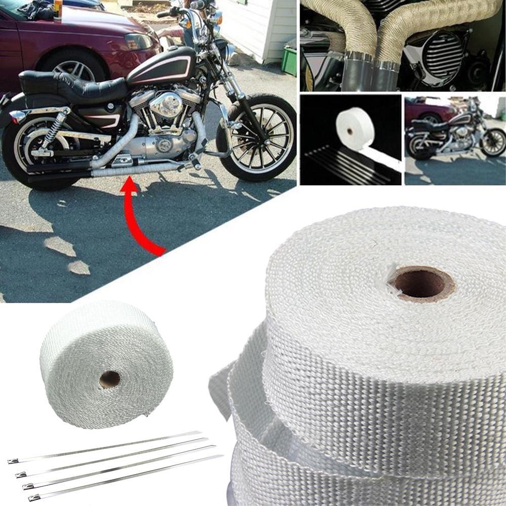 White EXHAUST PIPE HEADER TURBO FIBERGLASS MESH WRAP INSULATION CAR MOTORCYCLE