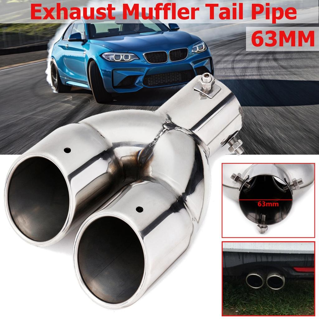 Silver Tone Stainless Steel Round Tip Exhaust Muffler Tail Pipe for Car