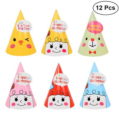 12Pcs Happy Birthday Party Hats Kids Decorations DIY Paper Cap Crown For Children