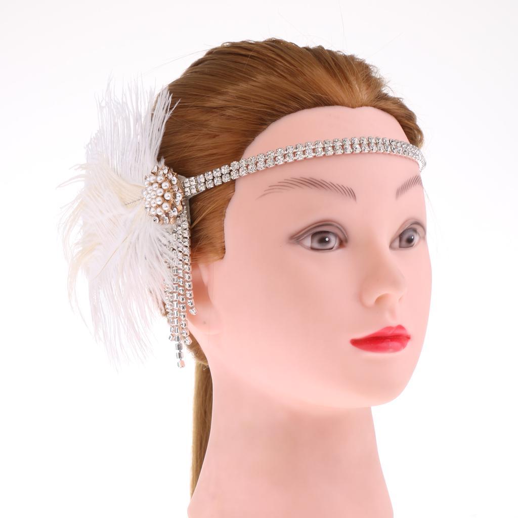 Rhinestone retro pluma blanca diadema novia casco 20s Flapper Dress ...