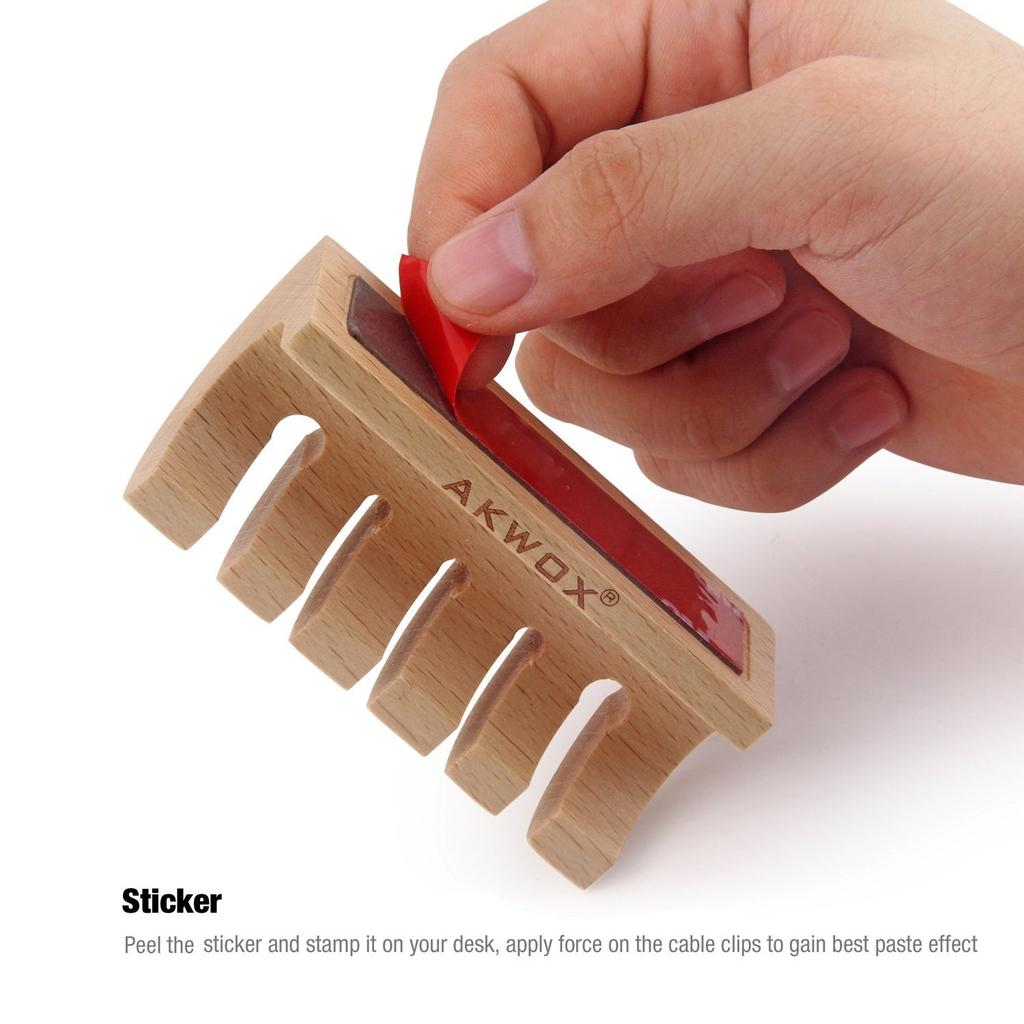 Akwox Wooden Cable Organizer and Cord Management System