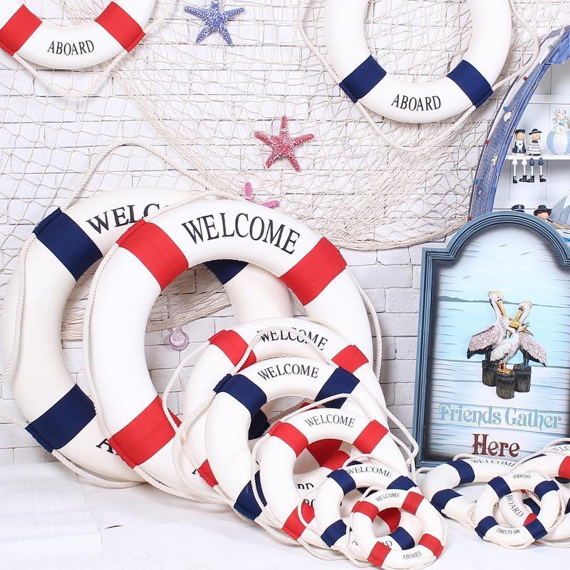 Welcome Aboard Nautical Wall Hang Ship Boat Ring Life Buoy Cafe Marine Display