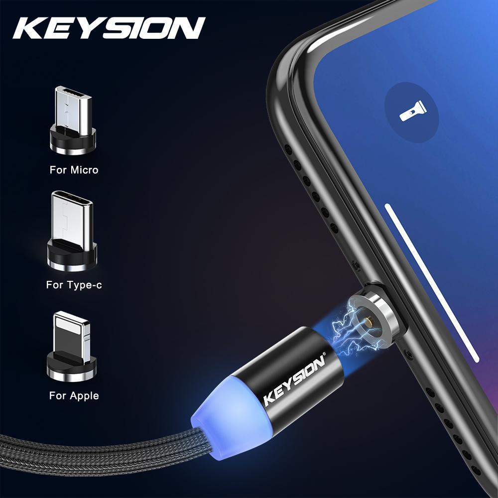 Магнитный кабель 1M Micro USB Type-C Apple Lightning Phone Кабельная светодиодная зарядка Нейлона провода фото