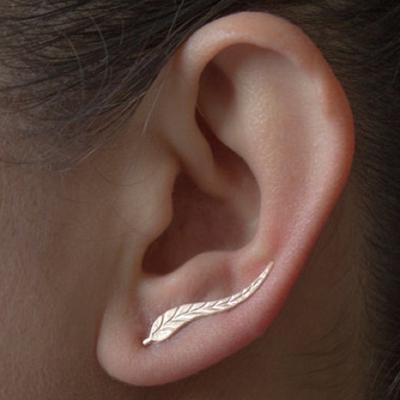 73fd4e557f1f Árbol del metal hoja aretes Ear Clip pendientes personalidad pendiente  joyas mujeres regalo