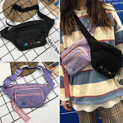 Unisex waist bag Hip-hop Canvas Crossbody Bag Chest Bag Splicing Color
