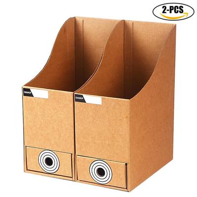 2pcs File Holder Kraft Paper Rack Box Storage Desk Organizer With Drawer