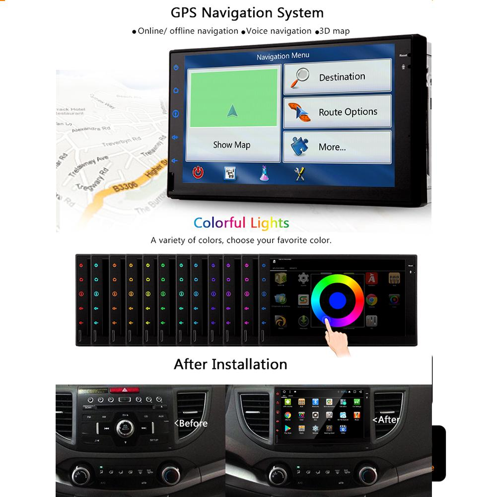 Car MP4 upgrade android 7 1 quad core cpu 7 inch in-dash double din car  stereo vehicle GPS navigation