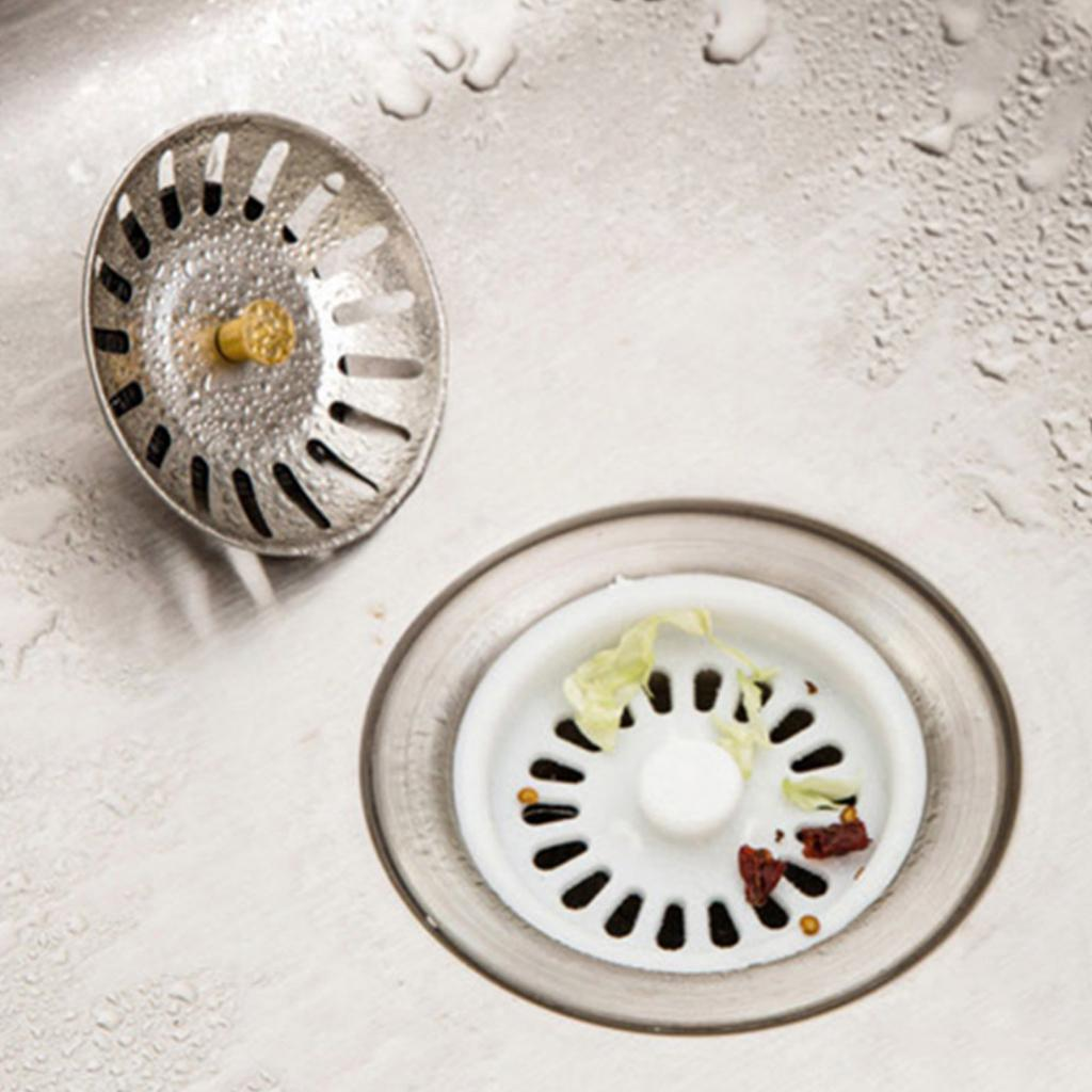 New 2pcs Metal Stainless Steel Kitchen Sink Basin Waste Plug Strainer Drainer